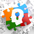 Psychological concept on multicolor puzzle profile of head with a keyhole located Stock Photo