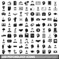 100 psychology icons set, simple style