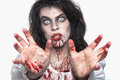 Psychotic bleeding woman in a horror themed image Royalty Free Stock Image