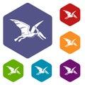 Pterosaurs dinosaur icons set hexagon