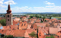 Ptuj and river drava slovenia red roofs of old town center of in the background europe Royalty Free Stock Image