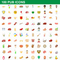 100 pub icons set, cartoon style