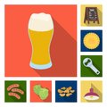 Pub, interior and equipment flat icons in set collection for design. Alcohol and food vector symbol stock web