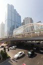 Pubic skywalk with modern buildings of Bangkok Stock Image