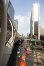 Pubic skywalk with modern buildings of Bangkok Stock Photo