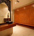 Public bathroom storage room a corner of a fitness leisure beauty luxury spa club Royalty Free Stock Images
