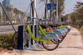 Public bike in hengqin new area china january park system china Royalty Free Stock Image