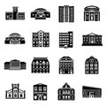 Public buildings icons set, simple style