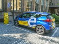 Public charging point of electric vehicles with E.ON Royalty Free Stock Photo