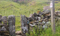 Public footpath sign in yorkshire and stile through dry stone wall dales Stock Photography