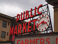Public market sign with clock in seattle washington Royalty Free Stock Photos