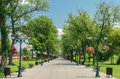 Public park alley mogosoaia in bucharest romania Stock Image