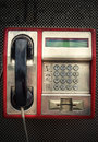 Public pay phone the close up and headset Stock Photography