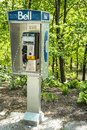 Public phone in montreal mount royal park Stock Photos