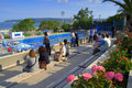 Public pool spectators bystanders sightseers sportsmen relatives at city black sea coast bulgaria varna port picture taken on july Stock Images