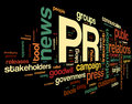Public relations concept in word tag cloud on black background Stock Photo
