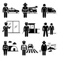 Public safety and security jobs occupations career a set of pictograms representing the careers in they are policeman fireman emt Royalty Free Stock Image