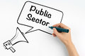 Public Sector. Megaphone and text on a white background Royalty Free Stock Photo
