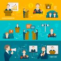Public speaking banner set of business presentation figure isolated vector illustration Stock Photo