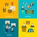 Public speaking flat set icons of business presentation political debates figure speech isolated vector illustration Stock Photo