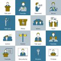 Public speaking icons flat line set with speech presentation announcement interview isolated vector illustration Royalty Free Stock Images