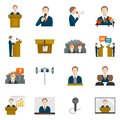 Public speaking icons set with business presentation politician conference vector illustration Stock Image