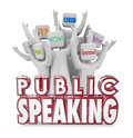 Public Speaking People Audience Cheering Entertaining Fun Speech