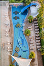 Public swimming pool top view in pattaya thailand Royalty Free Stock Images