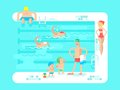 Public swimming pool water sport resort swim vacation and relaxation vector illustration Royalty Free Stock Image