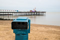 Public telescope and pier a on a winter day in herne bay kent Stock Photos