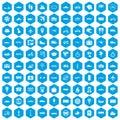 100 public transport icons set blue Royalty Free Stock Photo