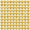 100 public transport icons set gold Royalty Free Stock Photo