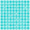 100 public transport icons set grunge blue Royalty Free Stock Photo