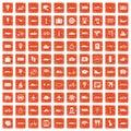 100 public transport icons set grunge orange Royalty Free Stock Photo