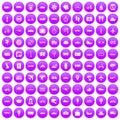 100 public transport icons set purple Royalty Free Stock Photo