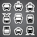 Public transport label set vector black and white icons for Stock Photos