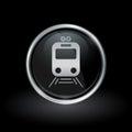 Public transport train icon inside round silver and black emblem