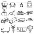 Public transport vehicles line icons set in black Royalty Free Stock Photography