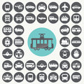 Public transportation icons set. Royalty Free Stock Photo