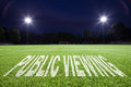 Public viewing on soccer field Stock Images