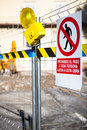 Public works. Restricted area. Text in Spanish. Royalty Free Stock Photo