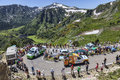 Publicity caravan in pyrenees mountains port de pialheres france july pmu le pari mutuel urbain vehicles driving on the road to Stock Photos