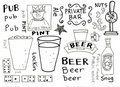 Pubs and Beer Doodles Stock Image