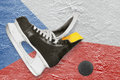 Puck, skates and Czech flag Royalty Free Stock Image