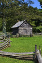 Puckett cabin old historic log in viriginia on the blue ridge parkway Royalty Free Stock Photo