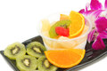 Pudding fruit salad fusion dessert tofu jelly Stock Images