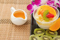 Pudding fruit salad with orange juice fusion dessert tofu jelly Stock Photos