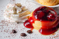 Pudding with strawberry jam and ice cream dessert Royalty Free Stock Image