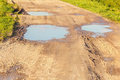 Puddles on dirt road Royalty Free Stock Photo