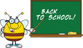 Pudgy bee cartoon character with glasses with a pointer in front of blackboard happy Stock Images